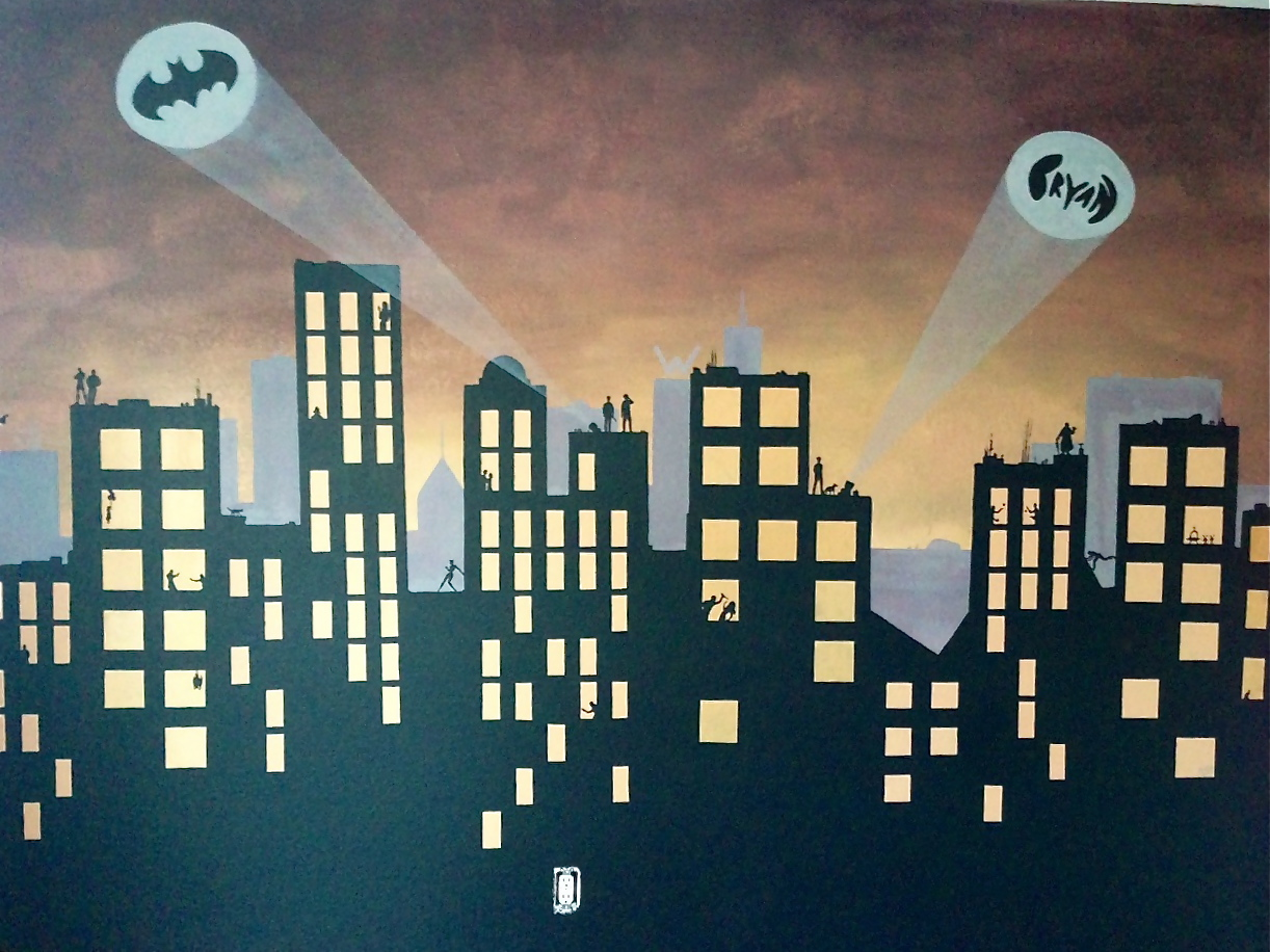 Murals inside ellies head gotham city did you see the wayne tower in the background amipublicfo Gallery